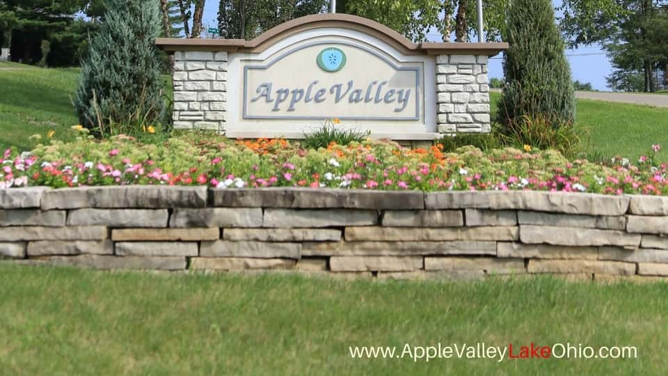 The entrance to Apple Valley Subdivision is a welcoming sight.